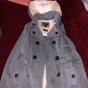 gray pea coat with hood